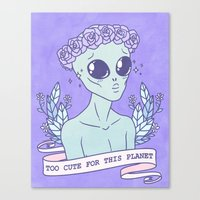 heymonster Canvas Prints featuring Too Cute by heymonster
