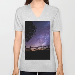 Childhood Dreams of the Milky Way lonely night color photography / photographs Unisex V-Neck