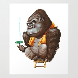 A gorilla relaxing after taking bath Art Print