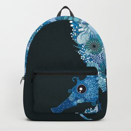 Seahorse with corals, shells and sea anemones Backpack