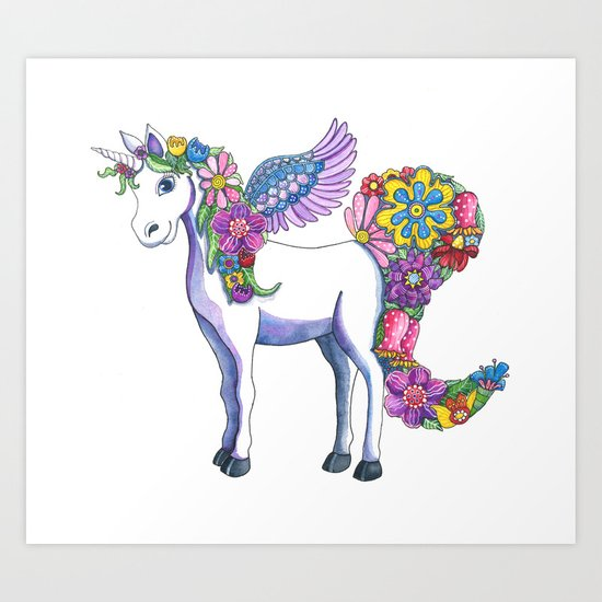 Madeline the Magic Unicorn Art Print