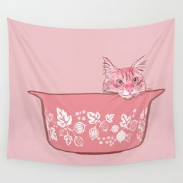 Cat in Bowl #1 Wall Tapestry