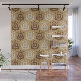 Mid Century Modern Retro Flower Pattern Beige and Brown 931 Wall Mural