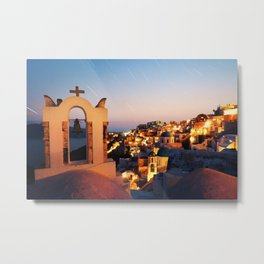 Santorini at Night Metal Print