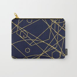 Geo Gold Blue Abstract Carry-All Pouch