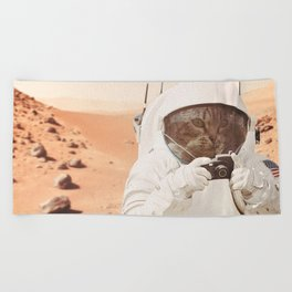 Astronaut Cat on Mars Beach Towel