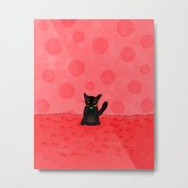 Red Fuzz Kitty Metal Print