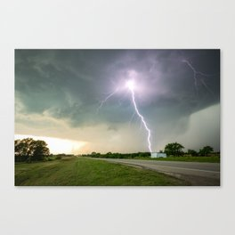 Close Call - Lightning Strike in Kansas Storm Canvas Print