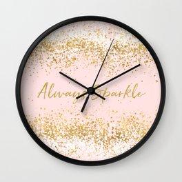Blush Pink Gold White Confetti Sparkle Wall Clock
