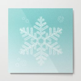 Typographic Snowfake Greetings - Ombre Teal Metal Print