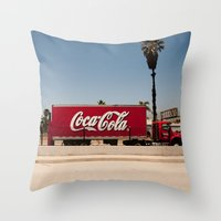 coke Throw Pillows featuring Coke Truck by Alex