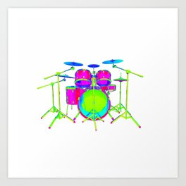 Colorful Drum Kit Art Print