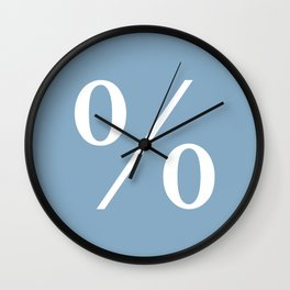 percent sign on placid blue color background Wall Clock