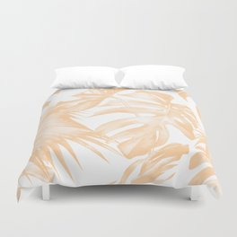 Island Vacation Hibiscus Palm Coral Duvet Cover