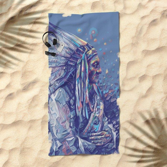 native american portrait-sitting bull Beach Towel