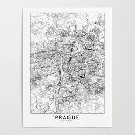 Prague White Map Poster