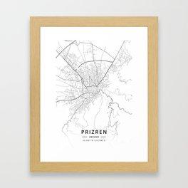Prizren, Kosovo - Light Map Framed Art Print
