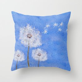 flying dandelion watercolor painting Throw Pillow