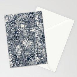 forest floor indigo ivory Stationery Cards
