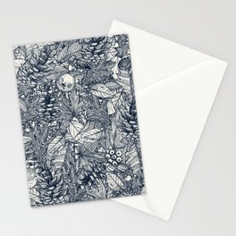 forest floor indigo ivory Stationery Cards