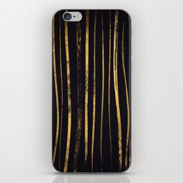 gold Foil Paint Brush Lines iPhone Skin