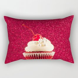 Cupcake Love - Red Velvet on Red Sparkles Rectangular Pillow