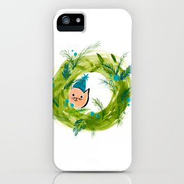 Kitty Christmas Wreath - Holiday Watercolor iPhone Case