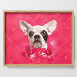 Cute French Bulldog - Frenchie puppy with Flowers Serving Tray