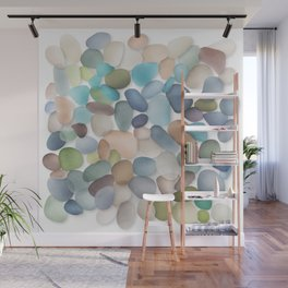 Assorted multicolored glass pebbles Wall Mural