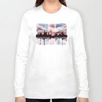 british flag Long Sleeve T-shirts featuring Great British Flag London Skyline 2 by Paint the Moment