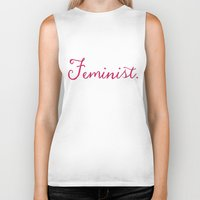 feminist Biker Tanks featuring Feminist. by Glimmersmith