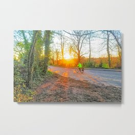Cycling In The Country Metal Print