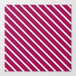 Red Plum Diagonal Stripes Canvas Print