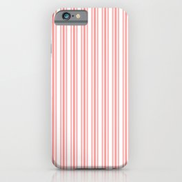Trendy Large Coral Rose Pastel Coral French Mattress Ticking Double Stripes iPhone Case