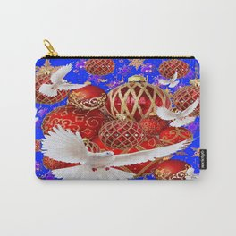 WHITE DOVES RED CHRISTMAS DECOR BLUE ART Carry-All Pouch