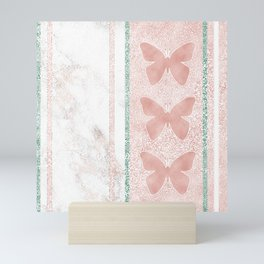 Snow White Peach Butterfly Abstract Pattern Mini Art Print