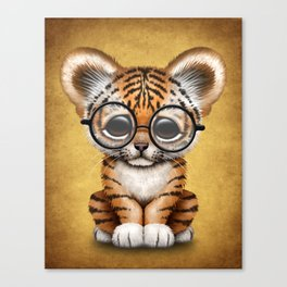 Cute Baby Tiger Cub Wearing Eye Glasses on Yellow Canvas Print