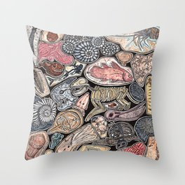 Fossils for history, dinosaur and archaeology lovers Throw Pillow