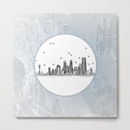Seattle, Washington City Skyline Illustration Drawing Metal Print