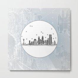 Seattle, Washington City Skyline Illustration Drawing Metal Print