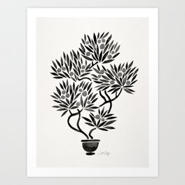 Bonsai Fruit Tree – Black Palette Art Print
