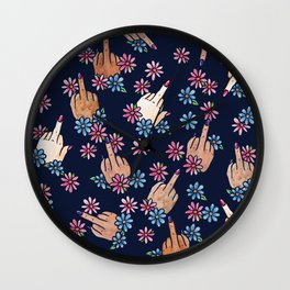 Middle Finger Floral Wall Clock