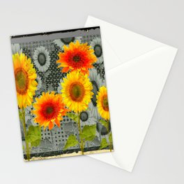 GREY GRUBBY SHABBY CHIC STYLE SUNFLOWERS ART Stationery Cards
