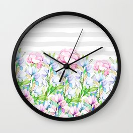 Modern watercolor pink lavender teal floral white stripes Wall Clock