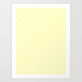 Electric Yellow on Cream Yellow Snowflakes Art Print