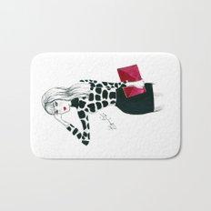 Giraffe Print Fashion Model Watercolor Bath Mat