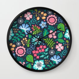 Bohemian Botanical Flowers Floral on Navy Wall Clock