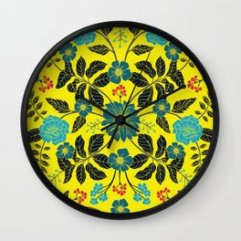 Bright Yellow, Red, Turquoise & Navy Blue Floral Pattern Wall Clock