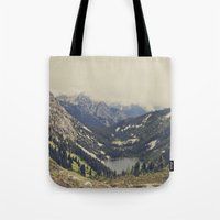 pink Tote Bags featuring Mountain Flowers by Kurt Rahn