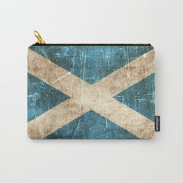 Vintage Aged and Scratched Scottish Flag Carry-All Pouch